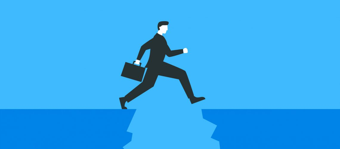 Vector colorful illustration of a businessman with a briefcase jumping over the abyss. Represents concept of overcoming difficulties, achieving the goal, business growing and moving forward