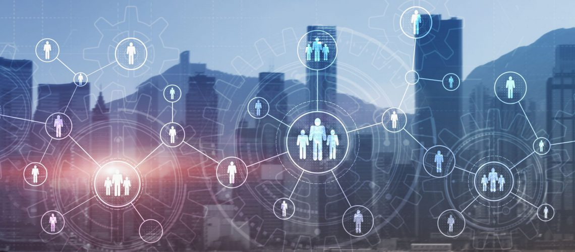 HR Recruitment Structure Global Outsourcing Social network communication concept. Modern City view panoramic website header banner double exposure.